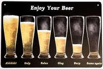 Placa Decorativa de Metal 30x20cm - Enjoy Your Beer
