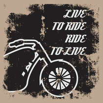 Placa em MDF G - Live to Ride - 41x41 cm