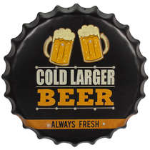 Tampa Decorativa Metal c/ Led  - Cold Beer - 40 cm