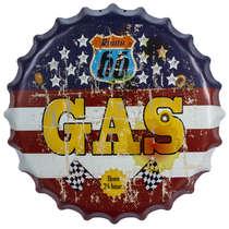 Tampa Decorativa Metal c/ Led  - Gas Rota 66 - 40 cm
