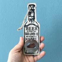 Abridor de Garrafas Beer - Cor Areia - 5x15 cm