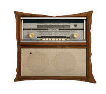 Almofada Rádio Retrô - 45x45cm - Almofada + Capa