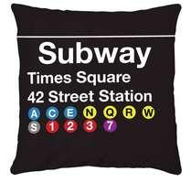 Almofada Subway Times Square 45x45cm - Almofada + Capa