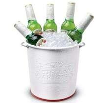 Balde Stella Artois - Alto Relevo - Branco e Vermelho