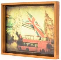 Bandeja Decorativa Moldura Dourada Londres -33 x 43 cm