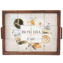 Bandeja Decorativa de Azulejos - Bom Dia com Café - 43 x 33 cm