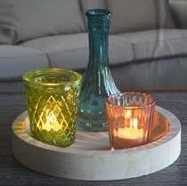 Conjunto P Castiçais e Bandeja 4 peças - Cute Glass