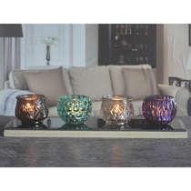 Conjunto Castiçais e Bandeja 5 peças - Decor Glass