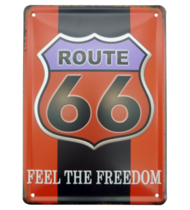 Placa Decorativa em Metal Route 66 Freedom P - 20x15 cm