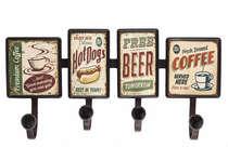 Cabideiro em metal 4 ganchos - Food and Beer