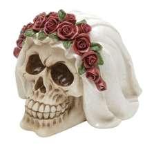 Caveira Decorativa de Resina - Noiva e Flores