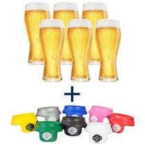 Combo Especial 06 copos Budweiser 400 ml + 06 protetores para latinhas (brinde)