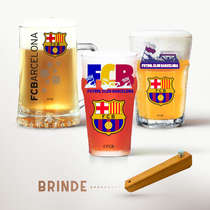 Conjunto Copos e Caneca (Brinde Abridor) - Futebol Clube Barcelona