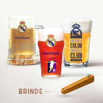 Conjunto Copos e Caneca (Brinde Abridor) - Real Madrid Club de Fútbol