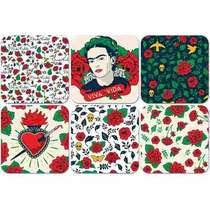Conjunto de Porta Copos Frida Kahlo - Flowers - 6 peças