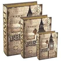 Jogo de Caixas Decorativas Livro Retrô - Londres 3 Peças