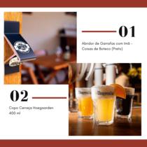 Abridor de Garrafas com Imã + Copo Cerveja Hoegaarden 400 ml )