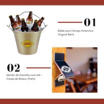 Balde para Cerveja Antarctica Original Retrô + Abridor de Garrafas com Imã - Coisas de Boteco (Preto)
