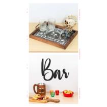 Dia dos Pais - Bandeja Decorativa de Azulejos Rolhas  + Palavra Decorativa Bar (Presente)