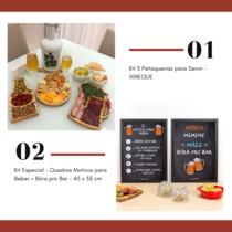 Dia dos Pais - Kit 3 Petisqueiras para Servir  IXNEQUE + Kit Especial - Quadros Motivos para Beber + Bóra pro Bar - 45 x 33 cm