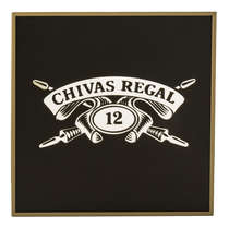 Espelho Decorativo - Chivas Regal - Moldura Dourada - Fundo preto