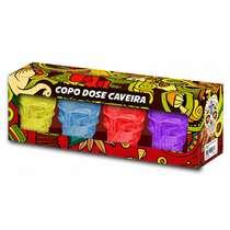 Jogo 4 copos p/ dose - Caveiras Coloridas - 42 ml
