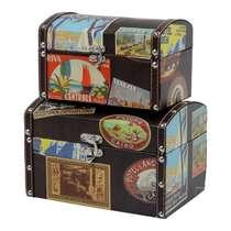 Jogo de Baús Decorativos Retrô -Viagens 2 Peças
