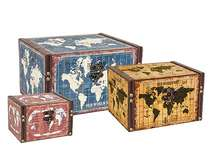 Jogo de Baús Decorativos Retrô - World 3 Peças