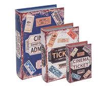 Jogo de Caixas Decorativas Livro Retrô - Cinema Ticket 3 Peças