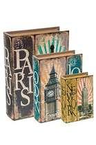 Jogo de Caixas Decorativas Livro Retrô - Paris 3 Peças