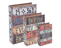 Jogo de Caixas Decorativas Livro Retrô - Placas 3 Peças