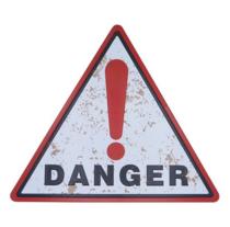 Placa Decorativa de Metal 30 x 34 cm - Danger