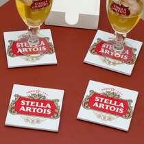 Kit 4 Porta Copos de Azulejos - Stella Artois - Suporte Laqueado (Brinde)