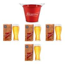 Kit Balde Budweiser + 4 copos Budweiser