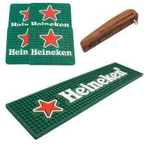 Kit Bar Mat / Apoio Heineken + 4 Porta Copos Heineken + Abridor