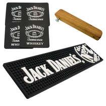 Kit Bar Mat / Apoio Jack Daniels+ 4 Porta Copos Jack Daniels + Abridor