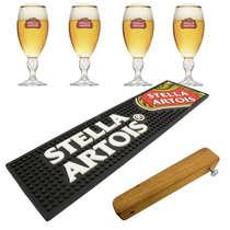 Kit Bar Mat / Apoio Stella Artois (Preto) + 4 Copos Stella Artois + Abridor