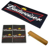Kit Bar Mat / Budweiser (Preto) + 4 Porta Copos Budweiser + Abridor