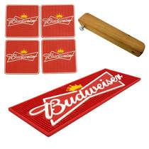 Kit Bar Mat / Budweiser + 4 Porta Copos Budweiser + Abridor