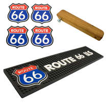 Kit Bar Mat / Route 66 + 4 Porta Copos Route 66 + Abridor