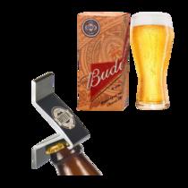 Kit Especial 1 Copo Budweiser 400 ml + Abridor de Garrafas Preto com Imã