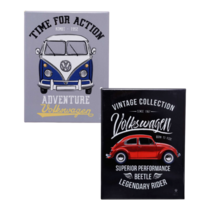 Kit Especial Placas de Metal - Kombi Time for Action + Fusca Born to Ride - 26 x 19 cm