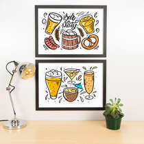 Kit Especial Quadros Decorativos - Colorful Beer Party  - 45x33 cm