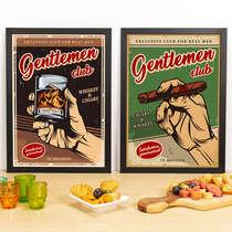 Kit Especial Quadros Decorativos - Gentlemen Club  - 45x33 cm