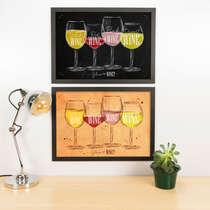 Kit Especial Quadros Decorativos - Glass of Wine  - 45x33 cm (Preto e Nude)