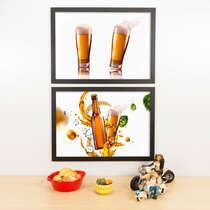 Kit Especial Quadros Decorativos - Lúpulo e Copos  - 45x33 cm