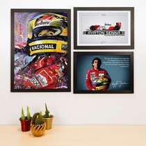 Kit Especial - 3 Quadros Ayrton Senna - 45x33 e 33x22 cm