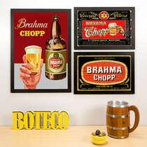 Kit Especial - 3 Quadros Brahma Chopp - 45x33 e 33x22 cm