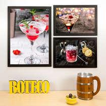 Kit Especial - 3 Quadros Drinks Especiais - 45x33 e 33x22 cm