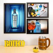 Kit Especial - 3 Quadros Gin Bombay Sapphire - 45x33 e 33x22 cm